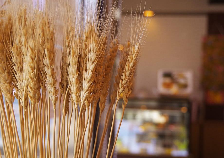 店内に飾られた小麦の穂